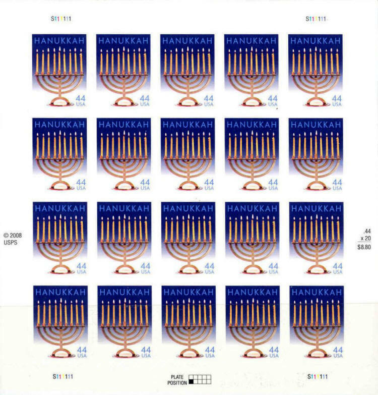 2009 44c Hanukkah Candle Menorah, Sheet of 20 Scott 443