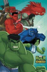 HULK-AGENTS-OF-SMASH-POSTER-CAST-22x34-Cartoon-Incredible-She-Marvel-Comics