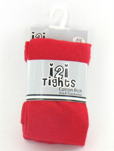 GIRLS i2i COTTON RICH PLAIN TIGHTS WITH ELASTANE AGE- 2-3 7-8 5-6 9-10 3-4