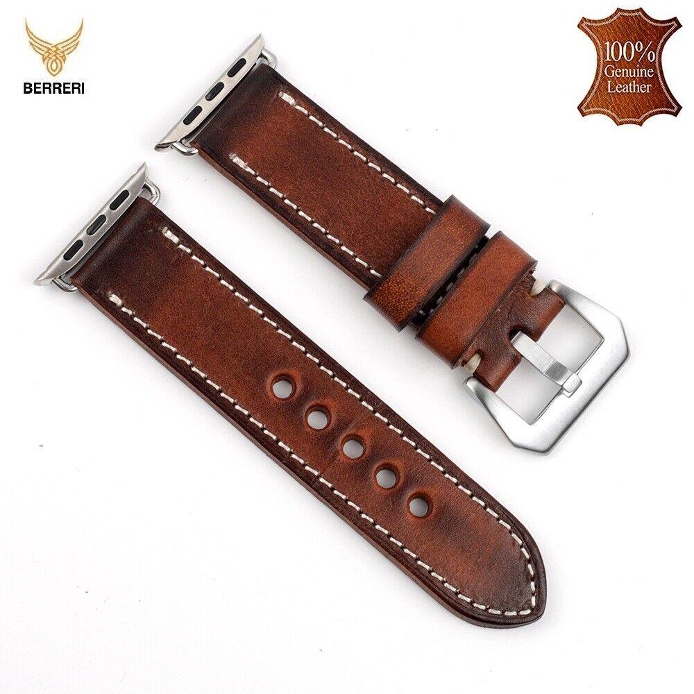 iwatch: Men Women Handmade Apple iWatch Strap Vintage Leather Band 38MM 40MM 42MM 44MM