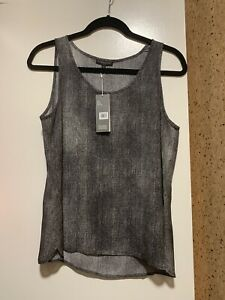 NWT-Eileen-Fisher-Scoop-Neck-Hazy-Printed-Silk-Crepe-Shell-Top-Black-Size-PM