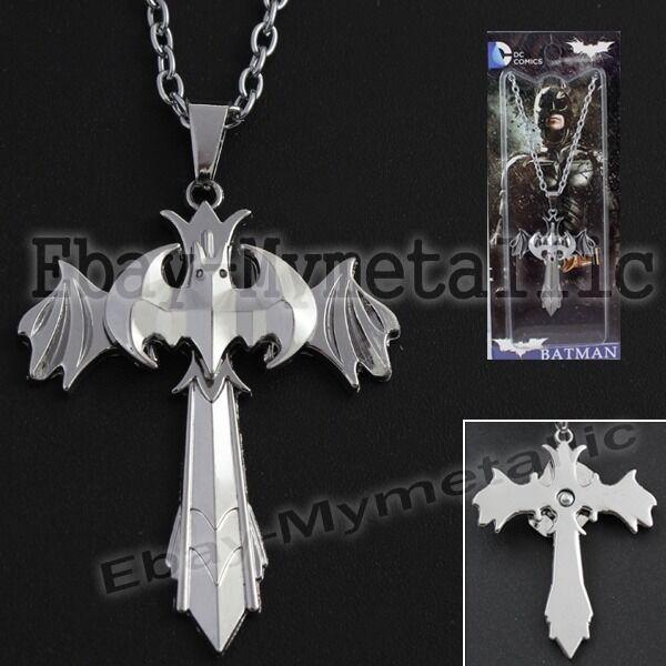 Super Hero Batman Logo CROSS Metal Pendant Necklace NIB