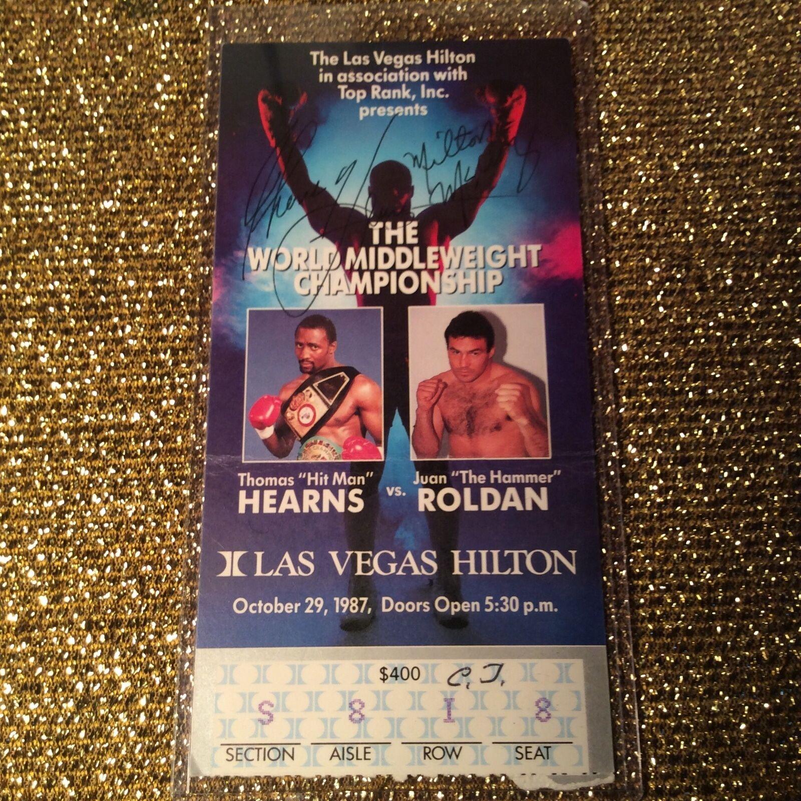 Thomas Hearns- Juan Roldan 1987 Superfight Boxe Cintura Campionato Biglietto