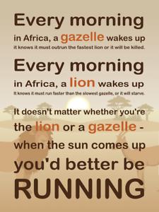 Unique Design Motivational Lion Gazelle Quote Wall Decor Poster Fast