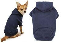 Navy Blue Dog Hoodies High Quality Cotton Blend Kangaroo Pocket Sweatshirt