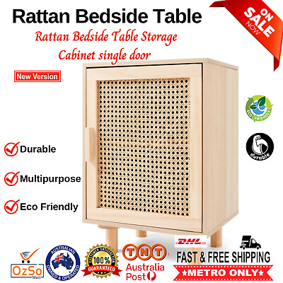 Details about  New solid pine & Rattan Bedside Table Storage Cabinet single door