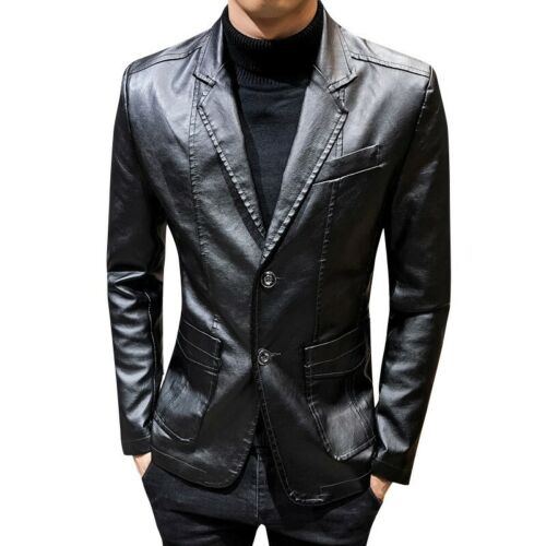 Mens Faux Leather Jacket Slim Fit Two Button Blazer Lapel Coat Fall Casual Party