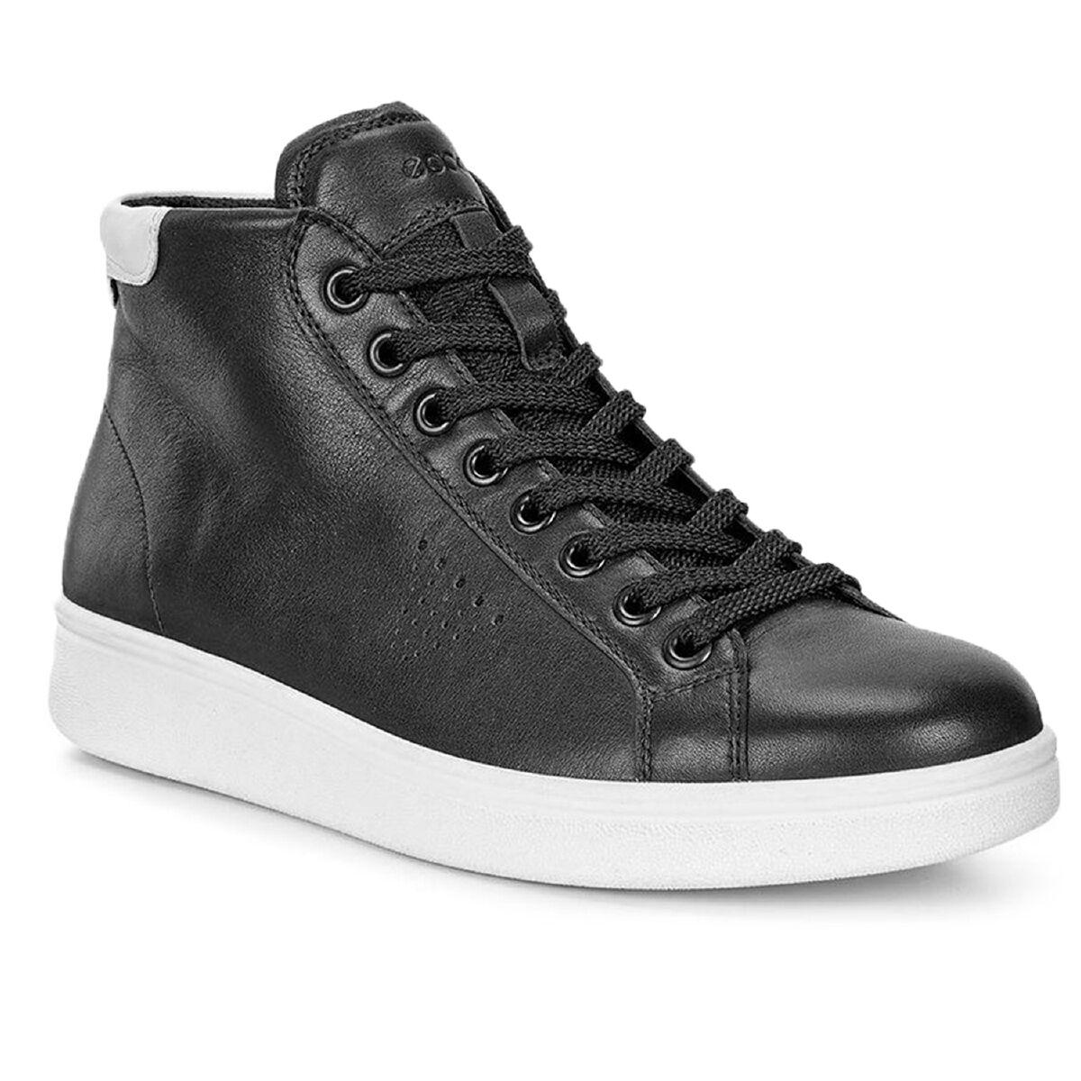 Ecco Soft 4 mid damas Zapatos señora cuero High Top cortos negro 218043-50669