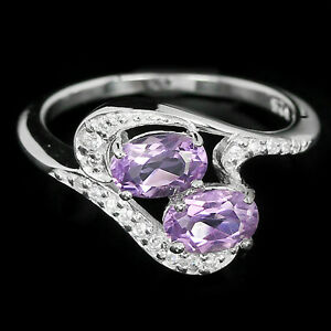 NATURAL-Purple-AMETHYST-amp-White-Cubic-Zirconia-925-Sterling-Silver-RING-S6-25