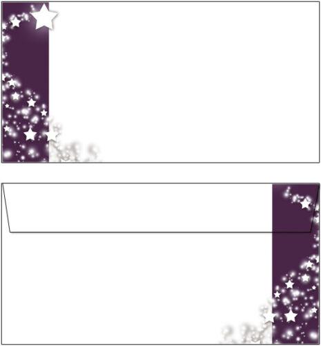20 Briefumschläge Motiv Sterne Banner lila DL oF Weihnachten weiß grau silber