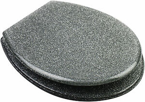 Fantastic Details About Quality Funky Silver Glitter Sparkle Bling Resin Toilet Seat Adjustable Hinges Theyellowbook Wood Chair Design Ideas Theyellowbookinfo