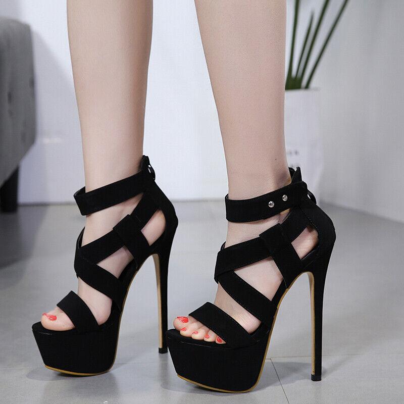 Donna Ankle Strap Open toe Platform Super Super Super High Heels Stilettos Sexy scarpe Clubs 0af1ec