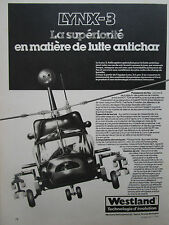 9/1982 PUB WESTLAND HELICOPTER LYNX 3 ANTICHAR HOT TOW HELLFIRE FRENCH AD