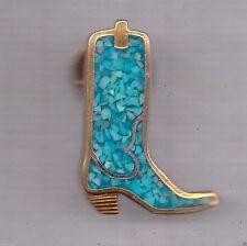 Turquoise Chip Inlay Hat Pin Bronze Cowboy Boot TAC PIN LAPEL PIN HAT TAC