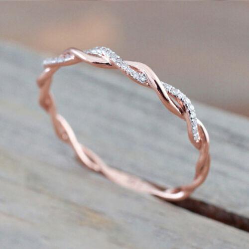 Ring Schleife Twist Unendlichkeit Infinity Zirkonia CZ Silber Rose Gold Damen