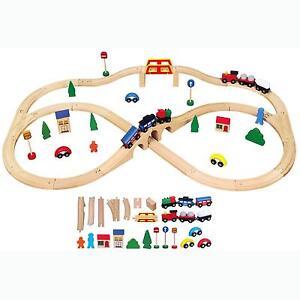 new childrens kids wooden toy railway train track set 49 pce playset push along ebay. Black Bedroom Furniture Sets. Home Design Ideas