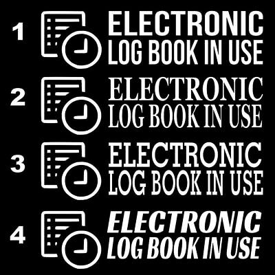 """Set Of 2 CHROME /""""ELog Device in Use/"""" Electronic Log Book Decal Sticker Truck ELD"""