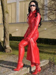 Ledermantel-Leder-Mantel-Rot-Bodenlang-Figurbetont-Massanfertigung