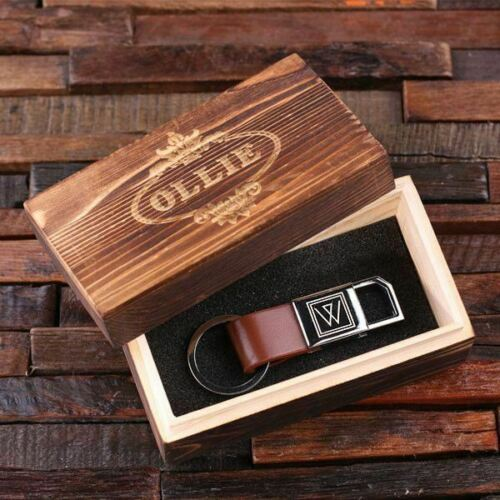 Black Brown Details about  /Personalized Engraved Classic Leather Gift Keychain Key Fob in Red
