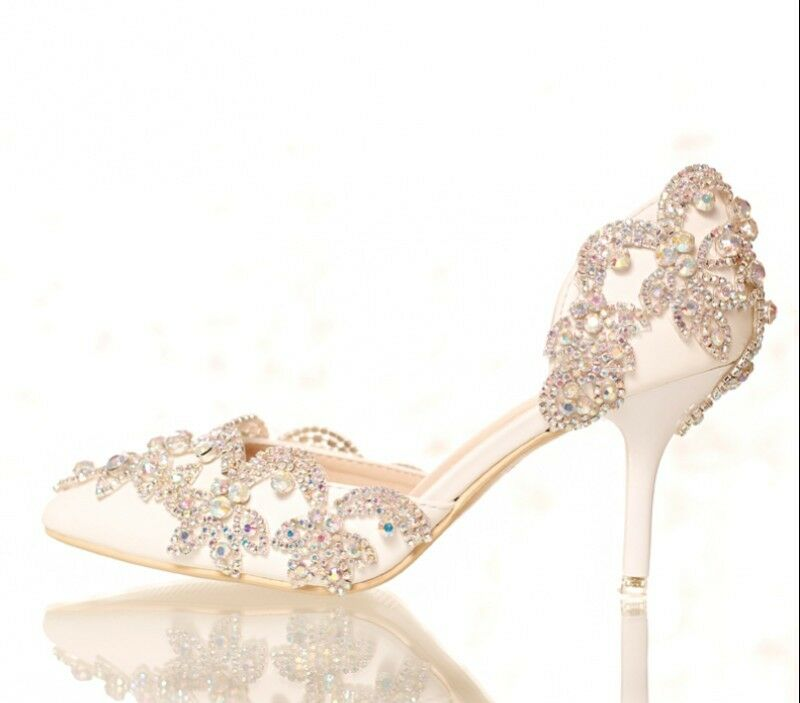 Wedding Womens Leather Rhinestone Stiletto Bling Bridals White Ladies Shoes Size