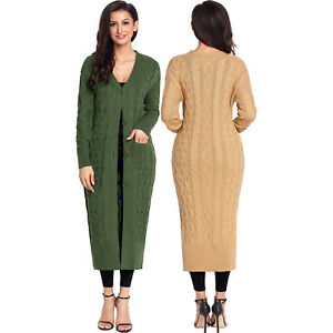 sports shoes 2bd3d 69892 Details about Armee green cable knit long cardigan strickjacke damen