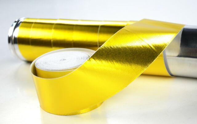 "Adhesive Exhaust Manifold Heat Wrap Roll Reflect Gold 2"" x 10M Heat Shield Tape"