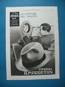 PUBLICITE-DE-PRESSE-MORRETON-CHAPEAU-IMPERIAL-LA-COIFFURE-DU-SALON-AD-1933
