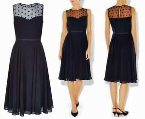 HOBBS-MARIGOLD-NAVY-CHIFFON-SHEER-SPOT-LACE-50-039-S-FIT-N-FLARE-DRESS-12-ONCE-149