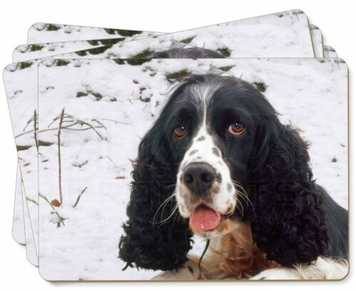 Blue Roan Black+White Cocker Spaniel Picture Placemats in Gift Box, ADSC23P