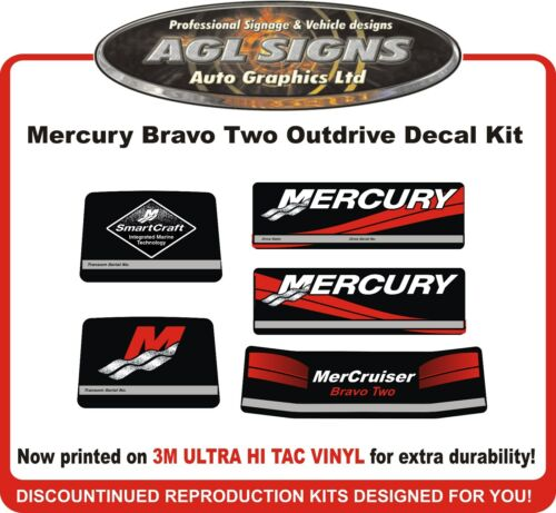 Mercury Bravo two Outdrive Decal Kit   Mercruiser  reproductions