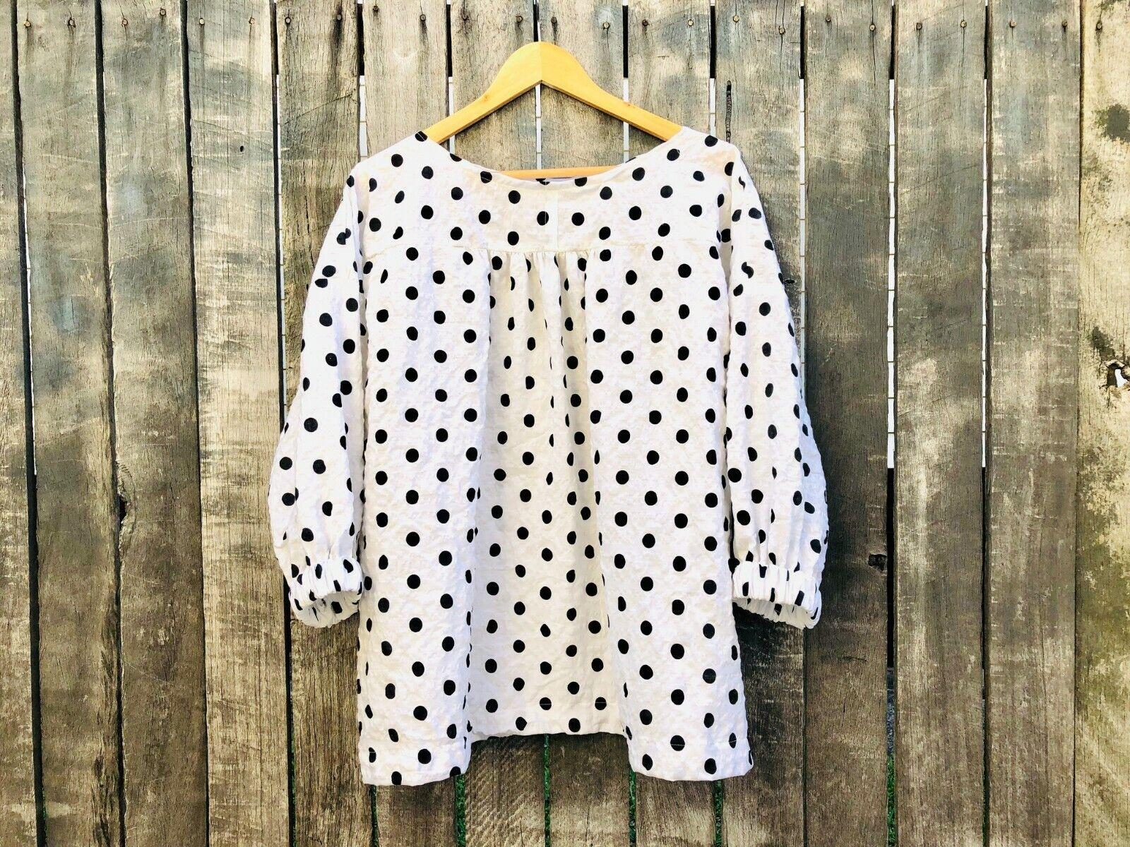 White Polka Dot Marta Blouse one size fits all plus size over 50 fashion