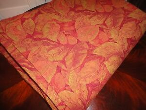 CRATE & BARREL CASSIS TAPESTRY FLORAL LEAVES AUTUMN GOLD RED OBLONG TABLECLOTH
