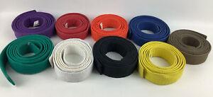 Black,yellow,blue,red,brown,orange,purple,green,white Belts Lot Of 9 Martial Art