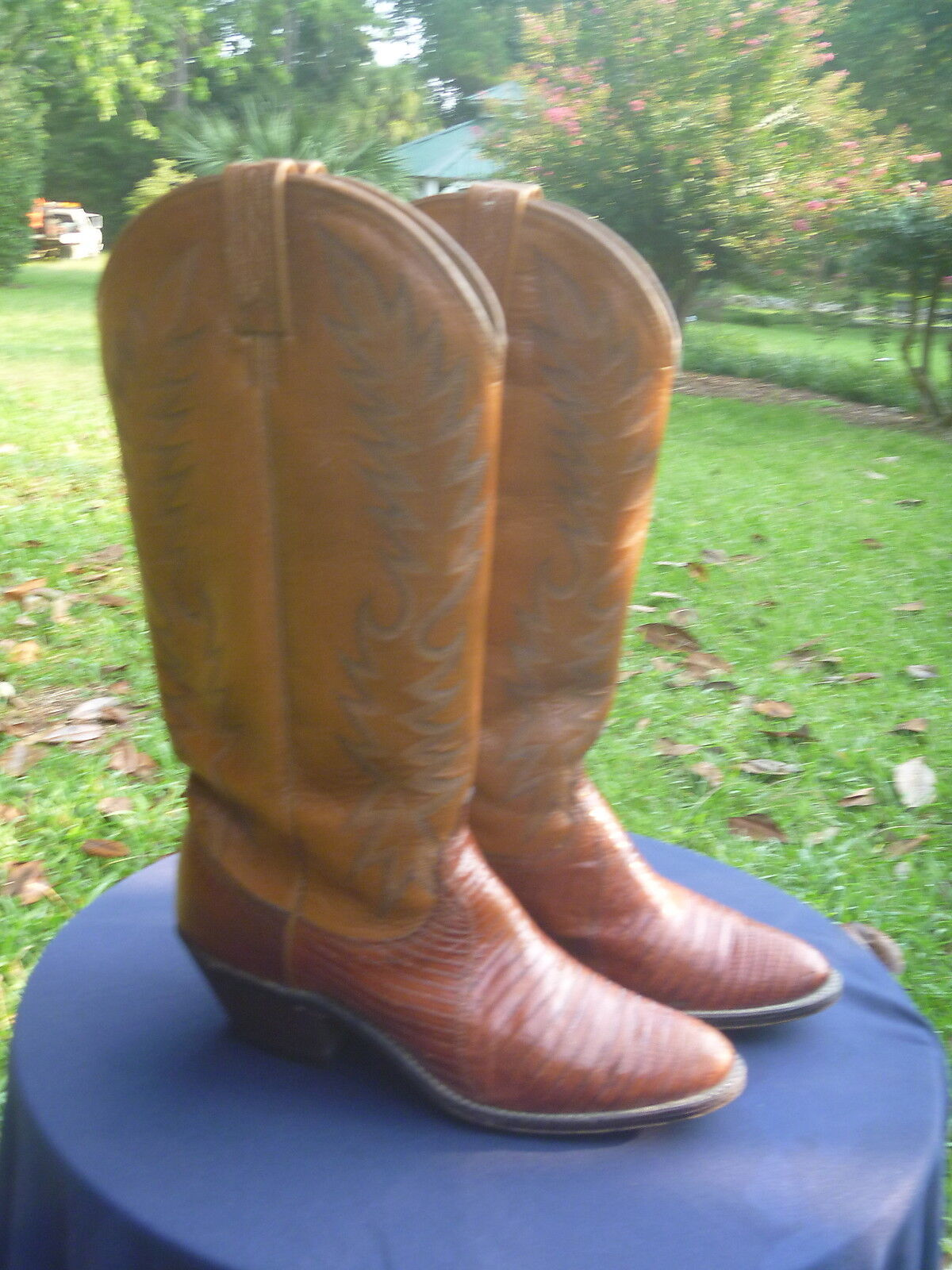 Womens Dan Post Western Cowboy Boots Boots Boots Brown Leather & Lizard Round Toe Sz 7.5 C 6fcf14