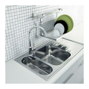 wall mounted dish drainer stainless steel with rail ebay. Black Bedroom Furniture Sets. Home Design Ideas