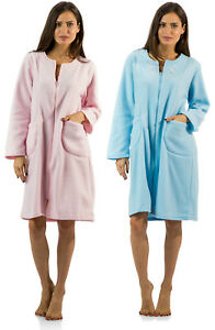 Details about Casual Nights Women s Long Sleeve Zip Up Front Short Fleece  Robe 51b6927a1