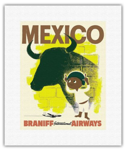 Mexico Bull Young Matador Vintage Airline Travel Art Poster Print Giclee