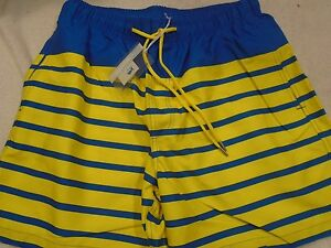 Southern-Tide-Yellow-and-Blue-Stripe-Board-Shorts-Swim-Trunks-NWT-XL-85