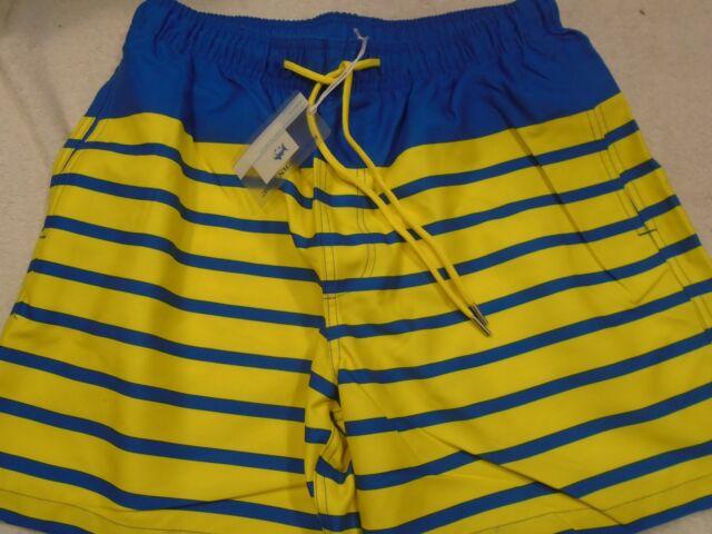 27c98fd0cd46 Southern Tide Yellow and Blue Stripe Board Shorts Swim Trunks NWT XL $85