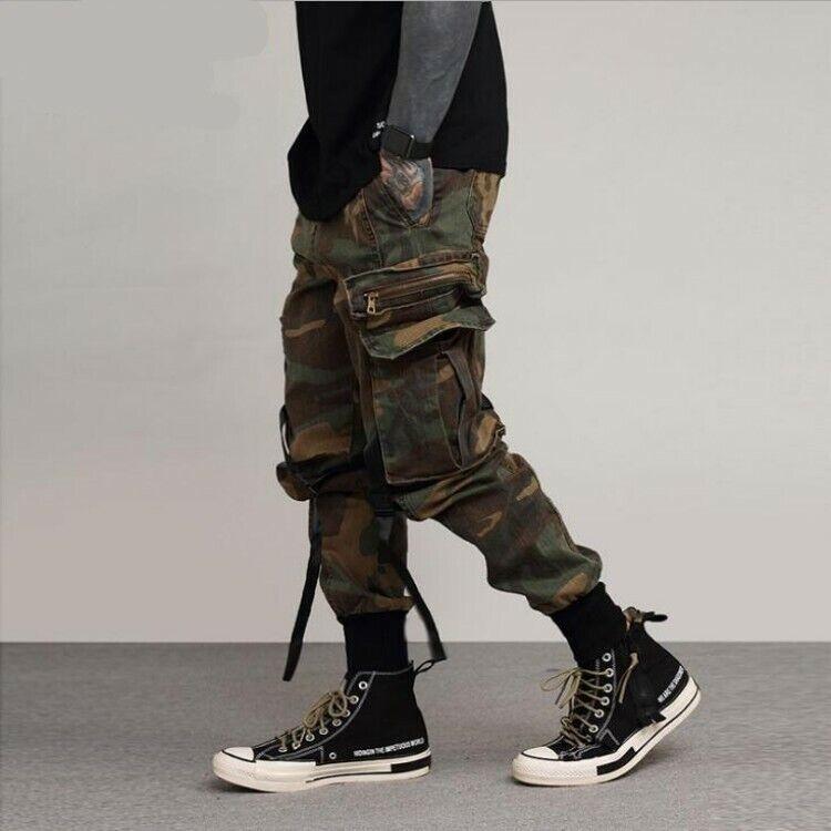 Pour des hommes Loose Combat Pantalon voiturego Camouflage Combinaison vernissées Pantalon Décontracté Pantalon