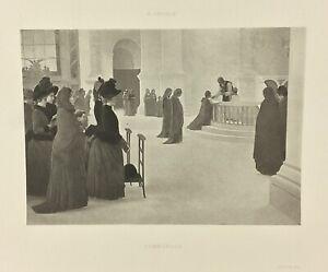 Gravure-ancienne-a-l-eau-forte-XIXe-A-LEROLLE-COMMUNION-salon-1888