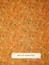 A Haunting We Will Go Halloween Candy Toss Cotton Fabric RJR #1984 Orange YARD