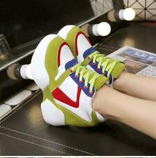 Green US8 Women Wedge Platform  High top Sneakers Boots Multi Color Heels Shoes