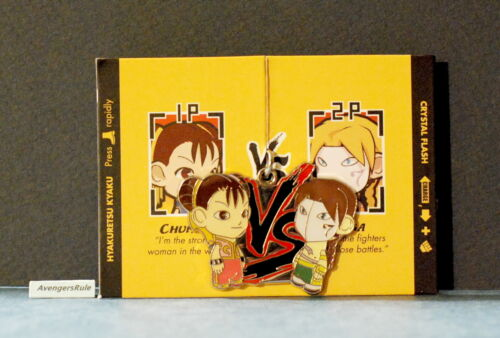 Street Fighter Enamel Key Chain Kidrobot Chun Li Red Vs Vega Green