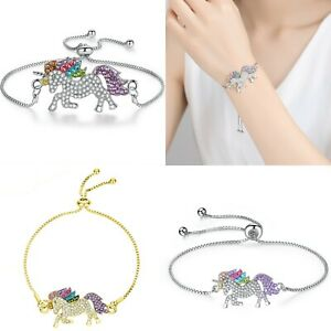 Colors-Unicorn-Animal-Horse-Rhinestone-Chain-Bracelet-Bangle-Women-Jewelry-New