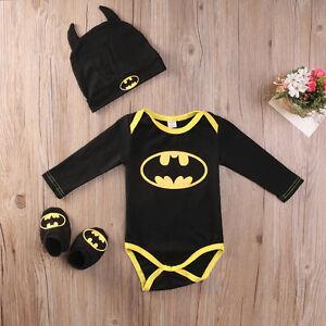 3Pcs Newborn Infant Baby Boys Batman Rompers Shoes Hat