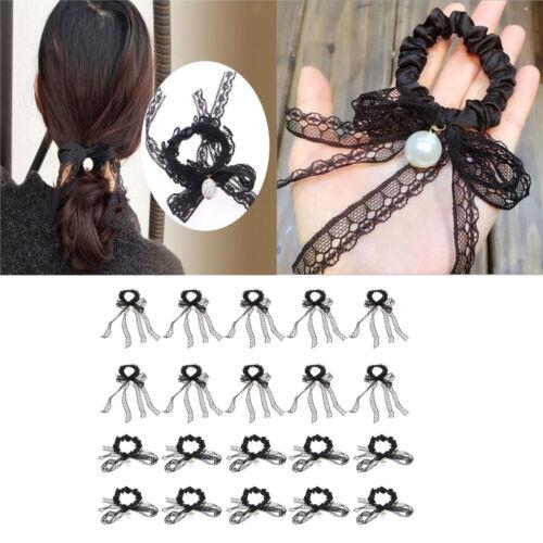 20x Kristall Haar Seil Band elastische Haargummis Ring Bowknot Pferdeschwanz