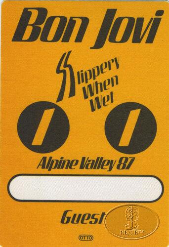 BON JOVI 1987 SLIPPERY Backstage Pass ALPINE VALLEY
