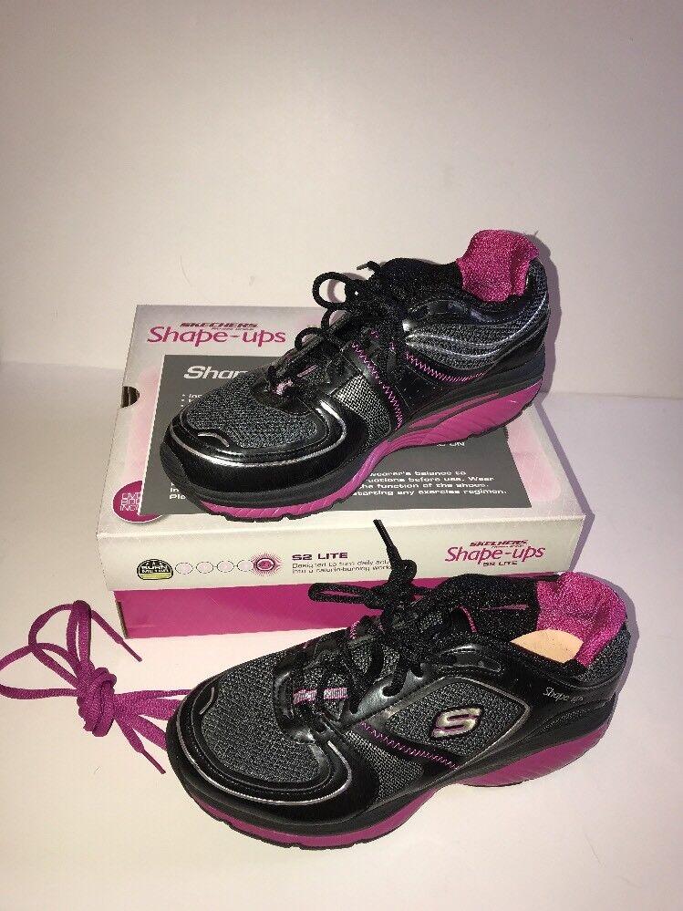 SKECHERS Women's S2 Lite Shape-ups Sneakers BLACK/HOT PINK Size 9.5 Pre-Owned