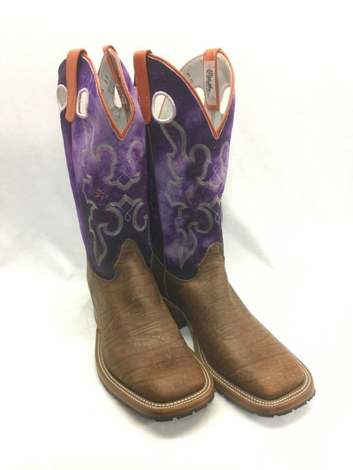 Men's Olathe Boots, Bison Square Toe w Suede Purple Top Style 8020
